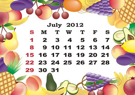 July - monthly calendar 2012 in colorful frame Stock Vector - 11354929
