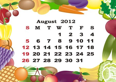 August - monthly calendar 2012 in colorful frame Stock Vector - 11354925