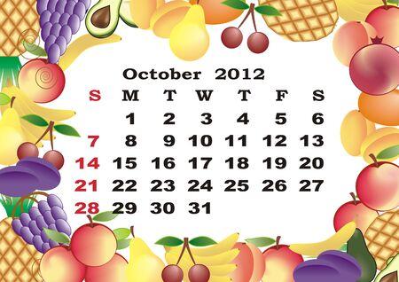 dates fruit: Octubre - calendario mensual de 2012 en el marco colorido