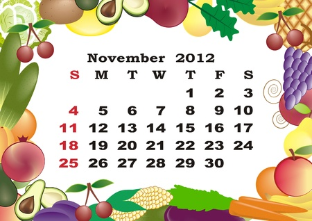 November - monthly calendar 2012 in colorful frame Stock Vector - 11354933