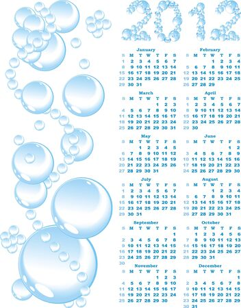 swill: vector calendar 2012  on blue bubble background