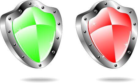 governmental: Brillantes iconos de escudo emblema en colores rojo y verde