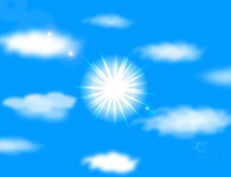 Vector sun on blue sky with lenses flare Stock Vector - 12251446