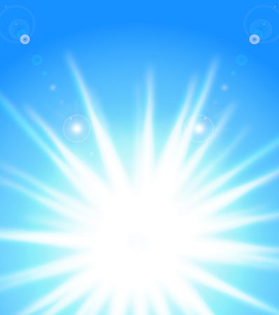 Vector sun on blue sky with lenses flare, eps10  Vector