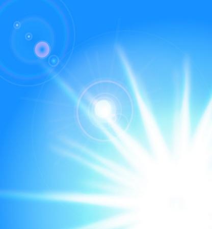 Vector sun on blue sky with lenses flare Vector