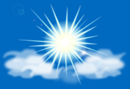 Vector sun on blue sky with lenses flare Vector
