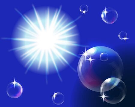 sun in blue sky with bubbles Stock Vector - 12251458