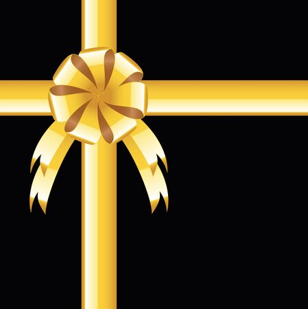 Black background with gold bow, greeting card   Vector