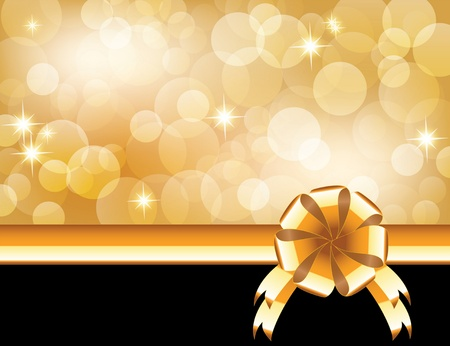 golden glow: Background with bow, stars and blurry light