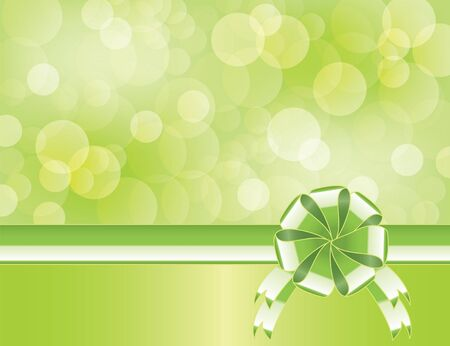 Green background with bow   and blurry light    Vector
