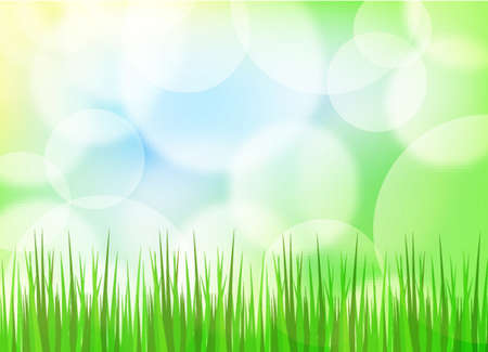 Green spring background with grass and blurry light Vector