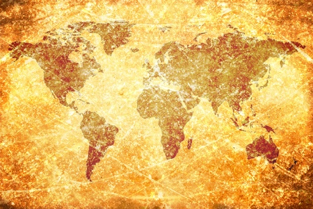 oversea: aged  vintage world map texture and background  Stock Photo