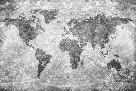 aged  vintage world map texture and background  Stock Photo