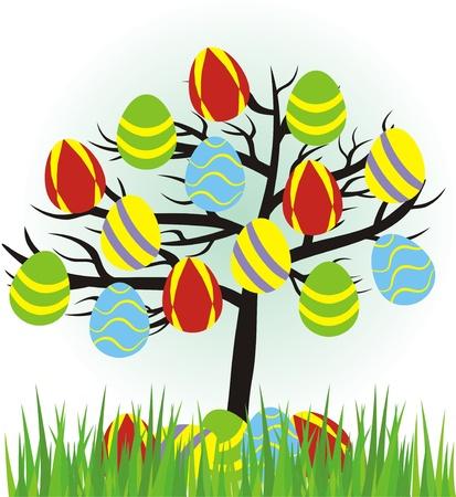 easter tree: cartoon easter boom met eieren en gras