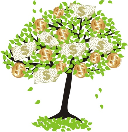 money  tree with dollar coins and banknotes  Vector