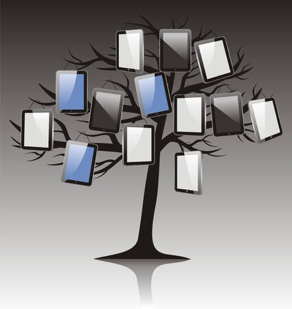 abstract tree with tablet on black white background    Vector