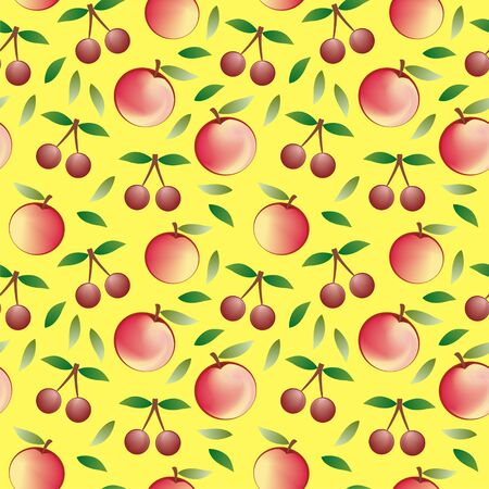 apple and cherry - seamless pattern and abstract nature background   Vector