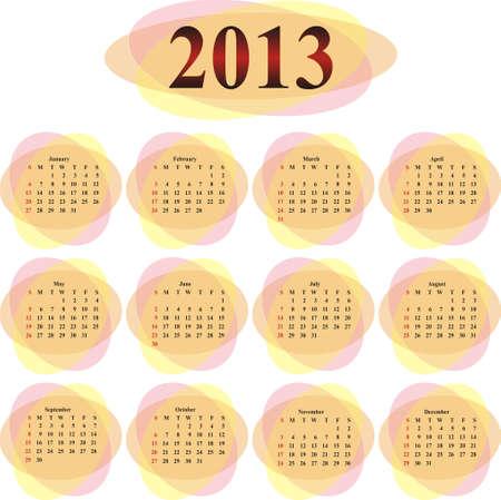 vector calendar 2013 in orange transparent ovals  Vector