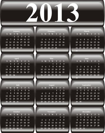 vector calendar 2013 on black glossy, buttons Illustration