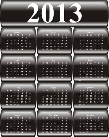vector calendar 2013 on black glossy, buttons Illustration