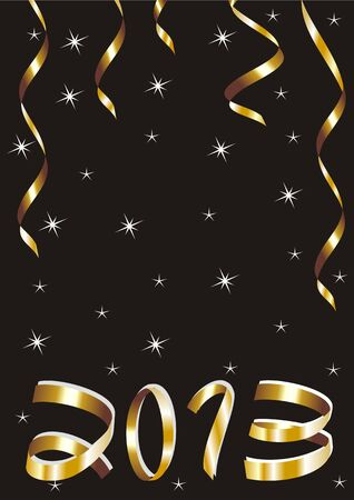 christmas and new year card  with gold tapes and 2013 on a black background  Vector