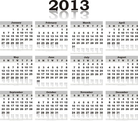 black white vector calendar 2013 with reflection