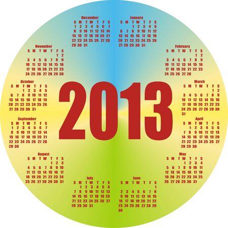 round colorful calendar 2013  in vector  Vector