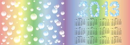vector calendar 2013  on rainbow bubble background    photo