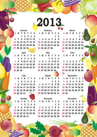 vector calendar 2013 in colorful frame photo