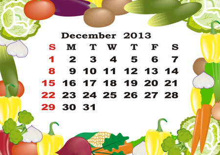 December - monthly calendar 2013 in frame with vegetables photo