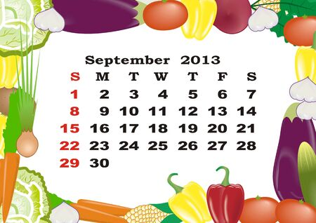 September - monthly calendar 2013 in frame with vegetables photo