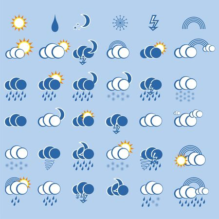 weather icon set  for web design on blue background