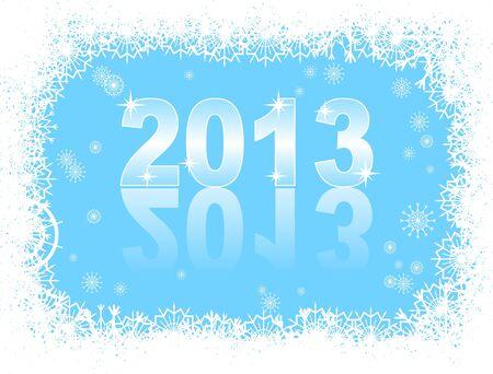 Boże Narodzenie i Nowy Rok karty z 2013 na niebieskim tle zimowego Zdjęcie Seryjne - 14825575