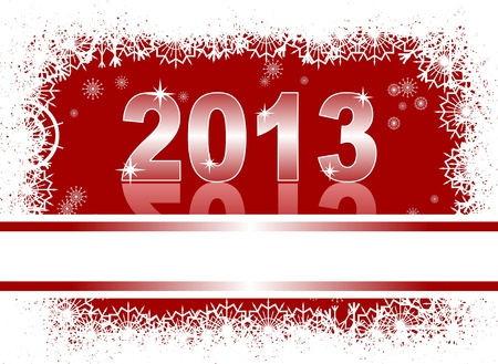 christmas and new year card  with 2013 on a red winter background