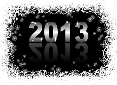 christmas and new year card  with 2013 on a black winter background Stock Vector - 14825580