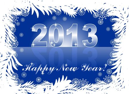christmas and new year card  with 2013 on a blue winter background Stock Vector - 14825582