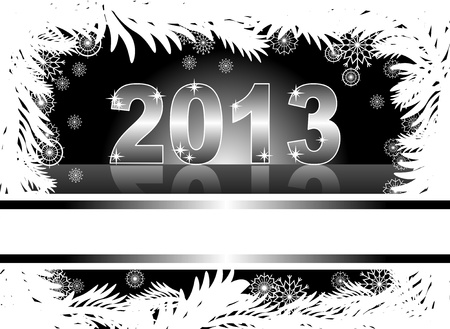 christmas and new year card  with 2013 on a black winter background Stock Vector - 14825578