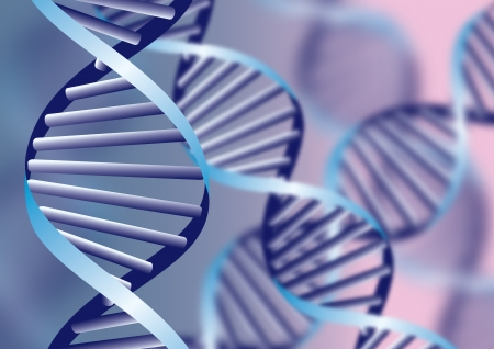 DNA helix, biochemical abstract background with defocused strands, eps10  Vector