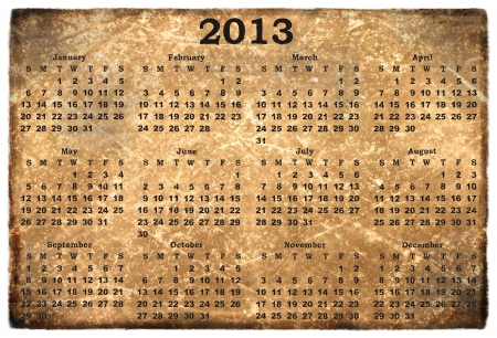 monthly calendar 2013  on  old grunge background