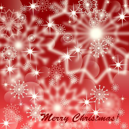 Red christmas background with white snowflakes and fireworks, EPS10  Vector