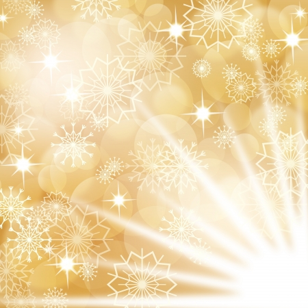 gold christmas background: Gold christmas background with white snowflakes and fireworks, EPS10 Illustration