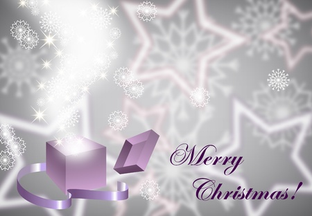 Christmas background with magic open gift box , eps10  Vector