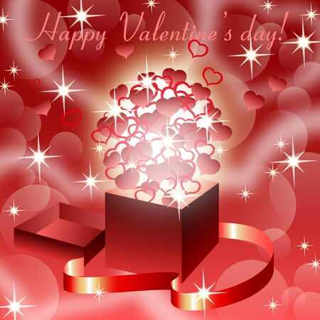 Red valentine�s  background with magic open gift box , eps10  Vector