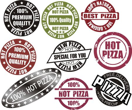 Pizza grunge stamp set  in red, black and green color Stock Vector - 15329163