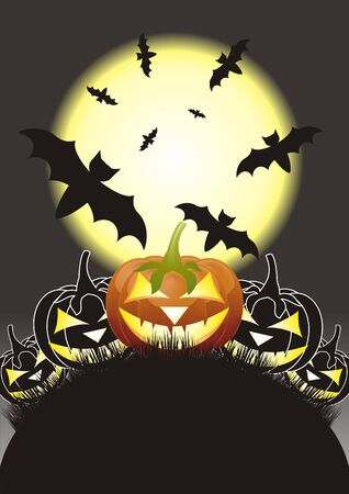 Halloween pumpkins, Jack of the Lantern on night background with a moon Vector