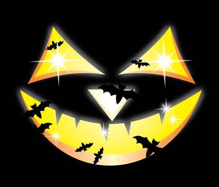 cucurbit: Scary Jack O Lantern halloween pumpkin on  black background