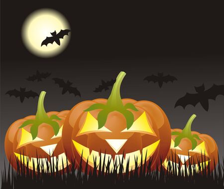cucurbit: Halloween pumpkins, Jack of the Lantern on night background with a moon Illustration