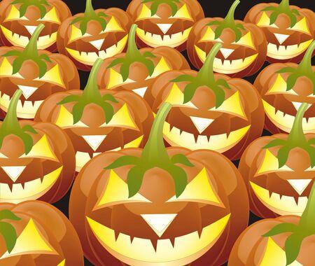 cucurbit: Scary Jack O Lantern halloween pumpkin with candle light inside  Illustration