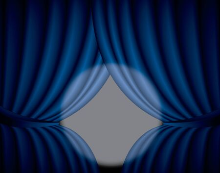 Blue curtain background with spotlight in the center, illustration illustration