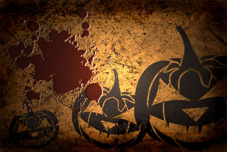 cucurbit: Scary Jack O Lantern halloween pumpkin on  grunge background with blood Stock Photo